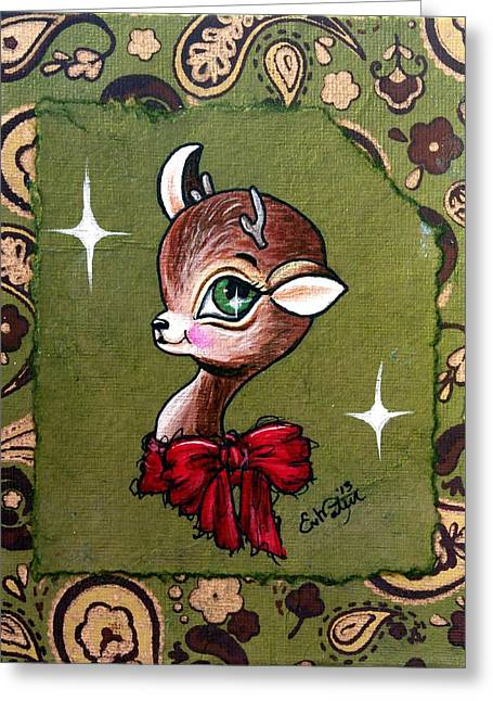 Rudolph Mixed Media Greeting Cards - Christmas Reindeer Poses So Pretty Greeting Card by Lizzy Love of Oddball Art Co