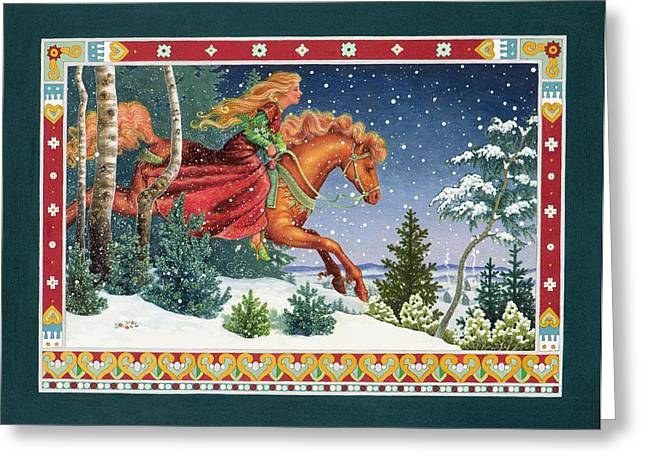 Winter Landscape Paintings Greeting Cards - Christmas Ride Greeting Card by Lynn Bywaters