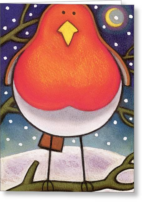 Yellow Beak Greeting Cards - Christmas Robin Greeting Card by Cathy Baxter