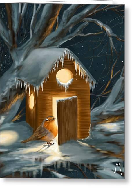 Christmas Robin Greeting Card by Veronica Minozzi