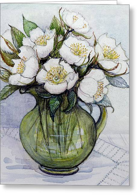 Close Up Paintings Greeting Cards - Christmas Roses Greeting Card by Gillian Lawson
