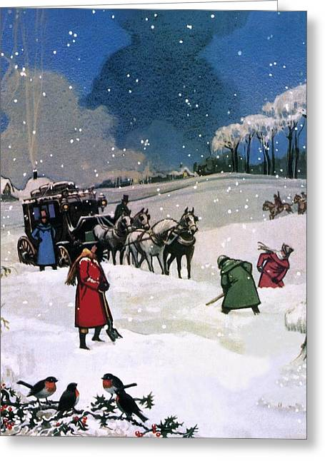 Snowy. Covered Greeting Cards - Christmas Scene Greeting Card by English School