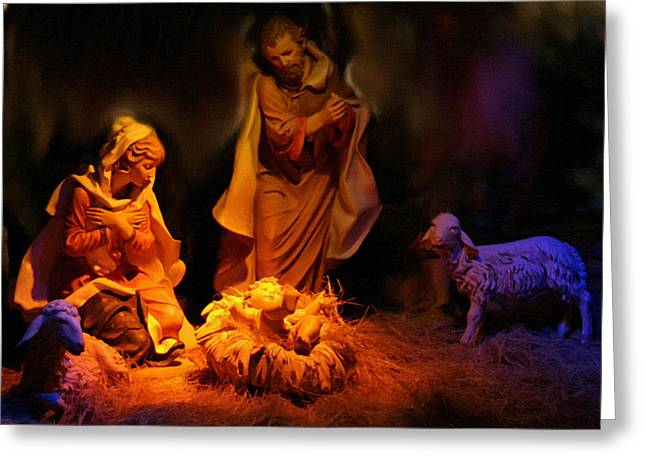 Calvary Greeting Cards - Christmas Scene Greeting Card by Victor Gladkiy