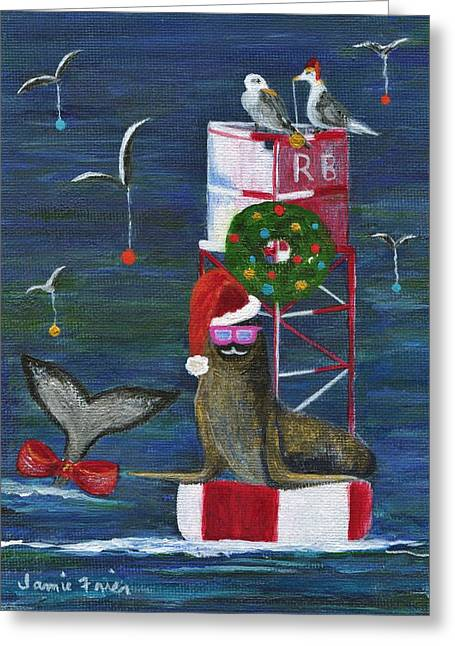 Wildlife Celebration Paintings Greeting Cards - Christmas Seal and Friends Greeting Card by Jamie Frier