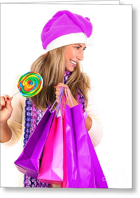 Sweetmeats Greeting Cards - Christmas shopping Greeting Card by Anna Omelchenko