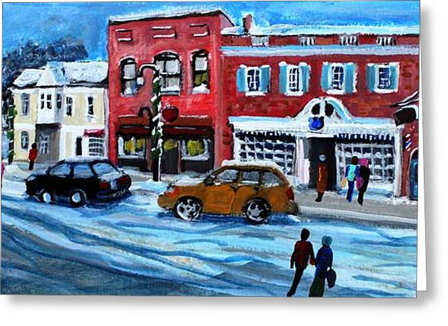 Concord Center Paintings Greeting Cards - Christmas Shopping in Concord Center Greeting Card by Rita Brown