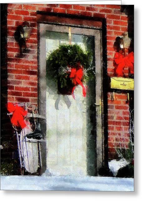 Winter Greeting Cards - Christmas Sled Greeting Card by Susan Savad