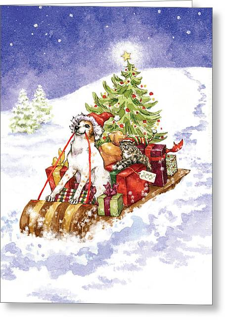 Christmas Sleigh Ride Dog And Cat Greeting Card by Caroline Stanko
