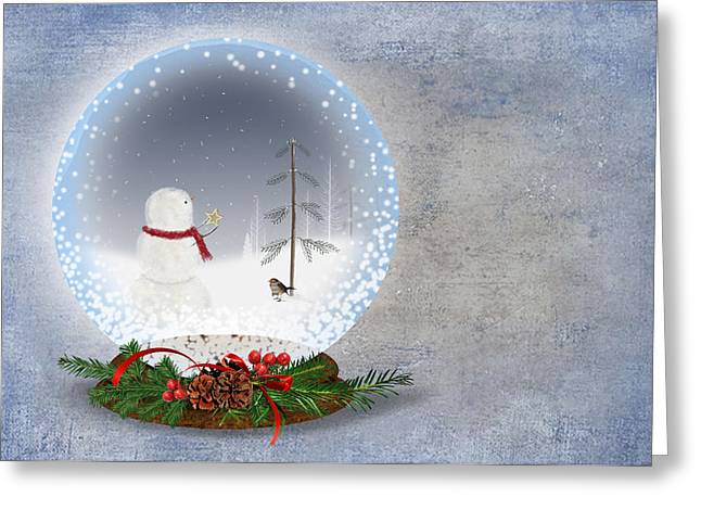 Pine Cones Mixed Media Greeting Cards - Christmas Snow Globe Greeting Card by Maria Dryfhout