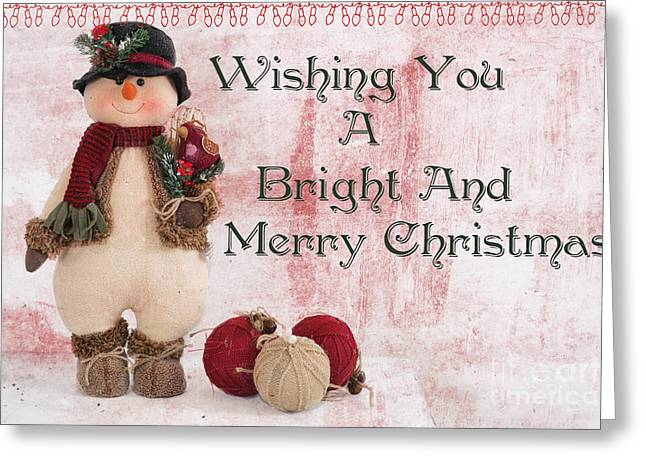 Christs Birthday Greeting Cards - Christmas Snow Man Greeting Card by Carolyn Rauh