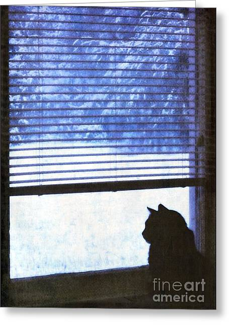 Snowstorm Posters Greeting Cards - Christmas Snow Greeting Card by Renee Trenholm