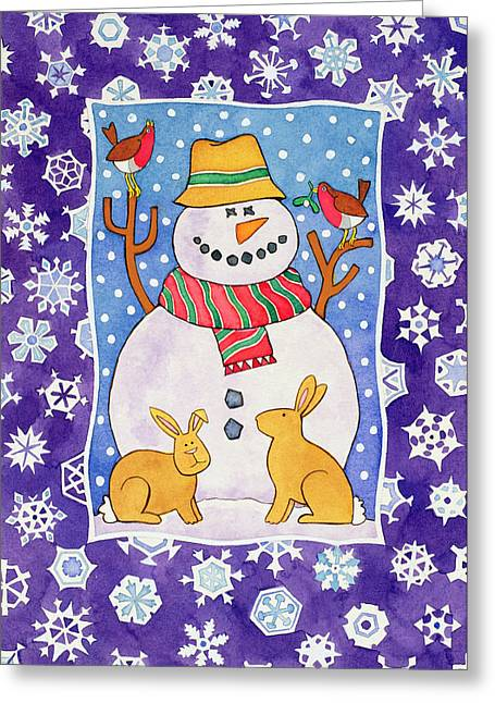 Mistletoe Greeting Cards - Christmas Snowflakes, 1995 Wc Greeting Card by Cathy Baxter