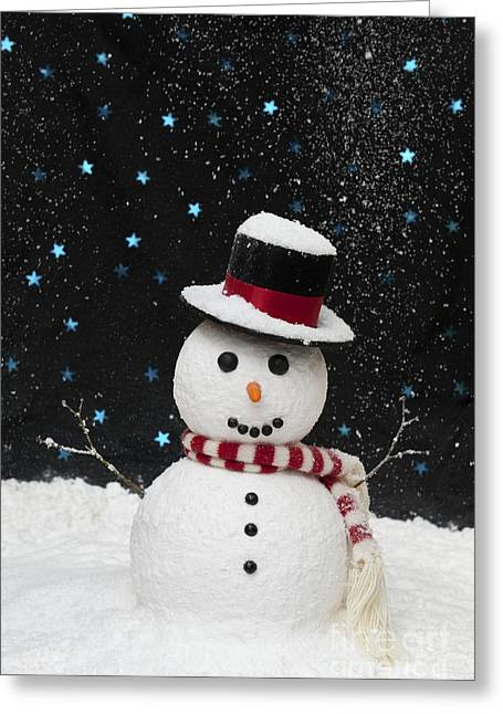 Christmas Greeting Greeting Cards - Christmas Snowman Greeting Card by Tim Gainey