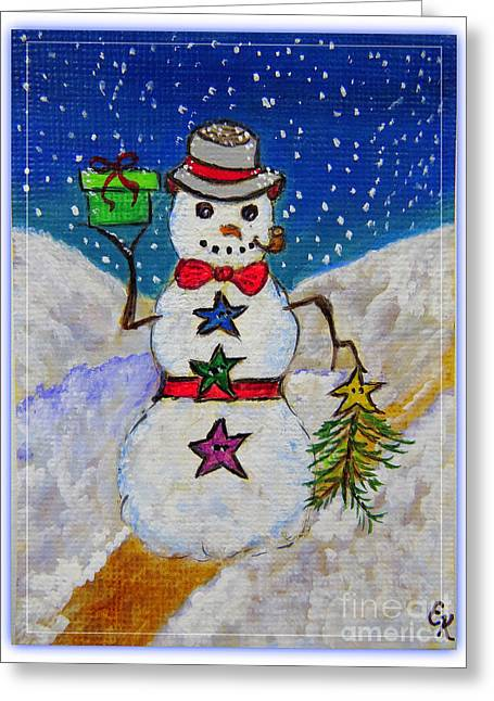 Frosty Mixed Media Greeting Cards - Christmas Snowman with Gifts of Love Greeting Card by Ella Kaye Dickey