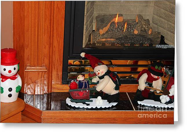 Delivering Presents Greeting Cards - Christmas - Snowmen Collection- Fireplace Greeting Card by Barbara Griffin