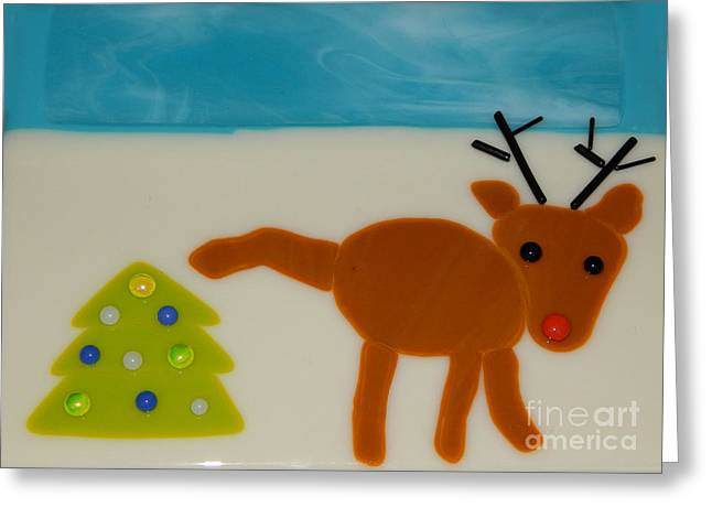 Christmas Glass Art Greeting Cards - Christmas Spirit Greeting Card by Patricia  Tierney