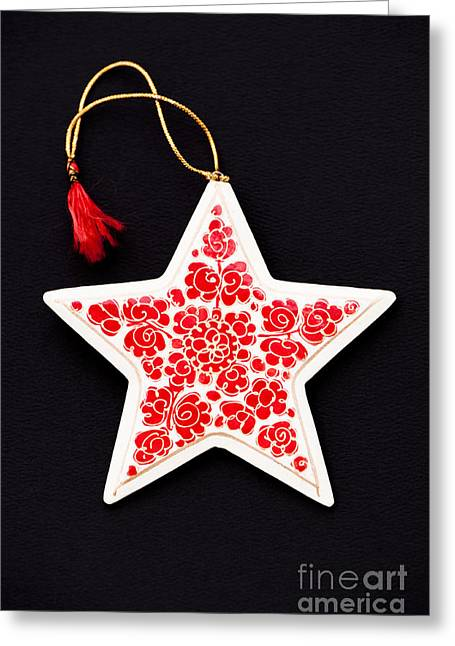 Papier Mache Greeting Cards - Christmas Star Greeting Card by Anne Gilbert