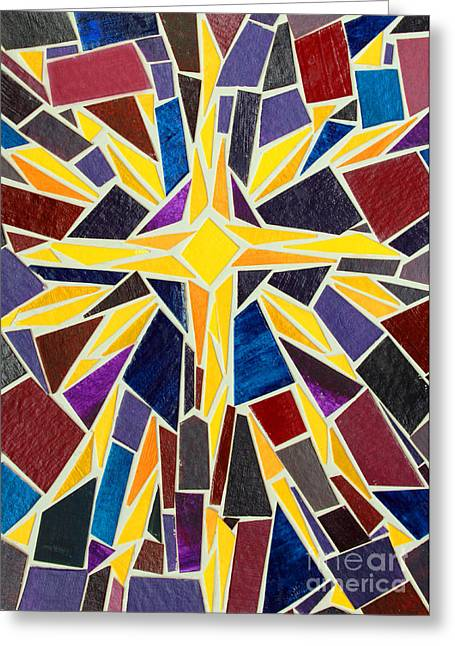 Star Of Bethlehem Greeting Cards - Christmas Star of Bethlehem Mosaic Christmas Card Greeting Card by Adam Long