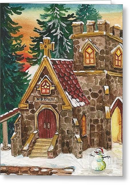 Ryta Greeting Cards - Christmas Steeple Greeting Card by Margaryta Yermolayeva