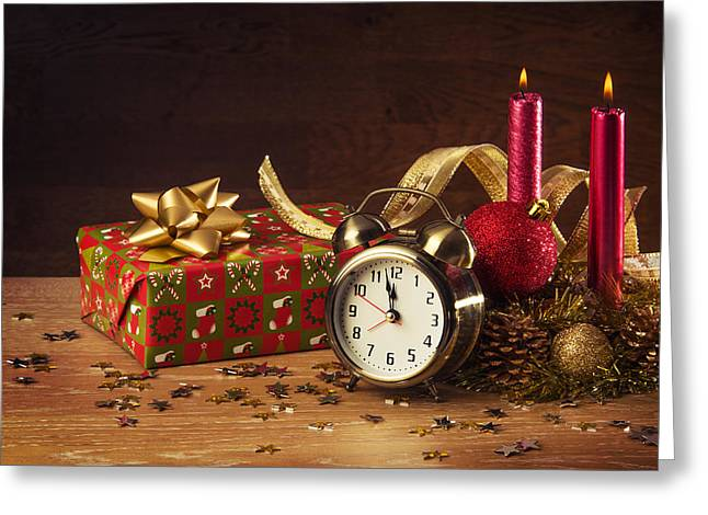 Clock Photographs Greeting Cards - Christmas Still-life Greeting Card by Carlos Caetano