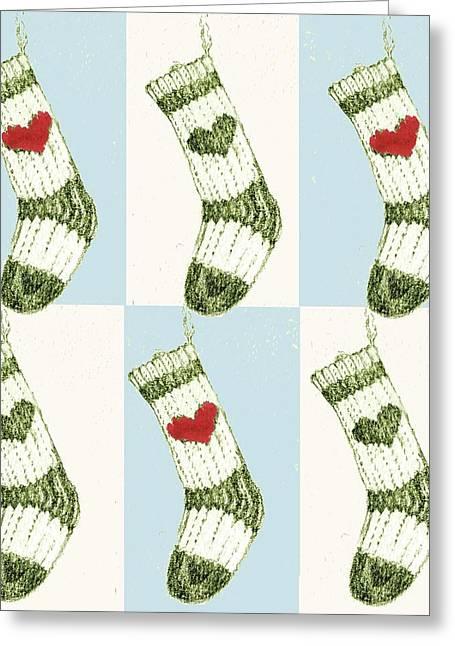 Christmas Stocking Greeting Card by Anna Platts