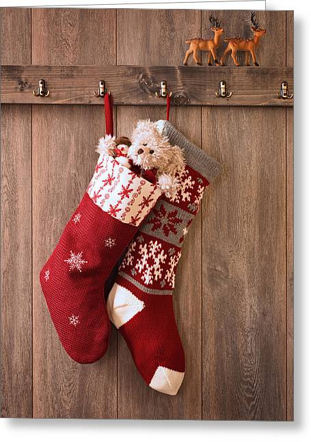 Furry Coat Greeting Cards - Christmas Stockings Greeting Card by Amanda And Christopher Elwell
