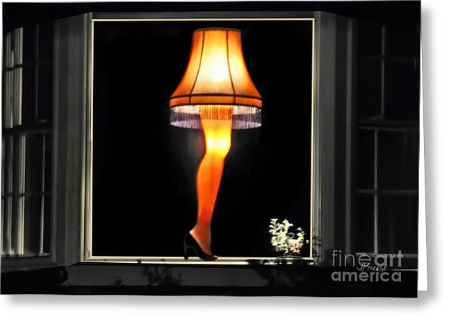 Iconic Lamp Design Greeting Cards - Christmas Story Leg Lamp Greeting Card by Jennie Breeze
