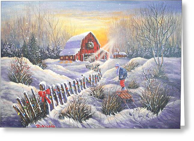 Sled.fence Greeting Cards - Christmas Sunrise Greeting Card by Anthony DiNicola
