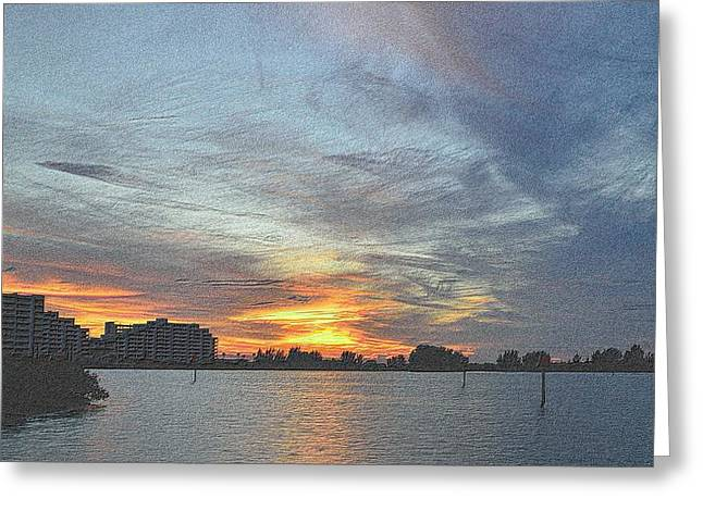 Sunset Framed Prints Drawings Greeting Cards - Christmas Sunset 3 Greeting Card by Richard Zentner