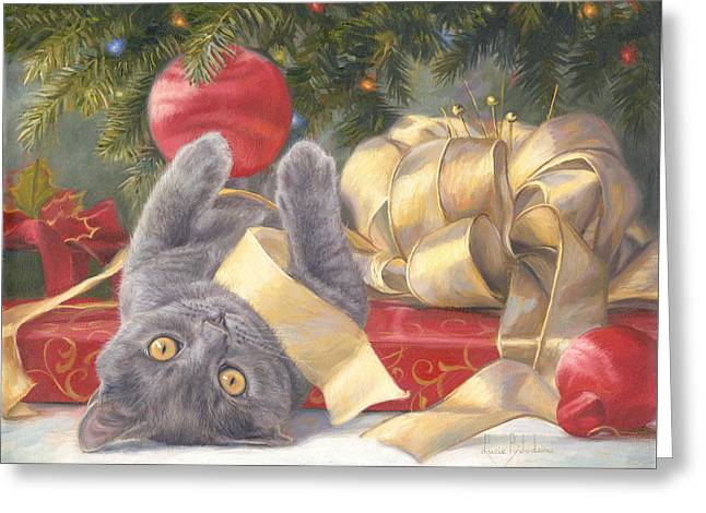 Blue Cat Greeting Cards - Christmas Surprise Greeting Card by Lucie Bilodeau