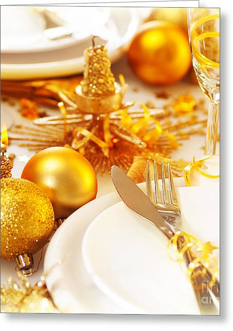 Banquet Greeting Cards - Christmas table setting still life Greeting Card by Anna Omelchenko