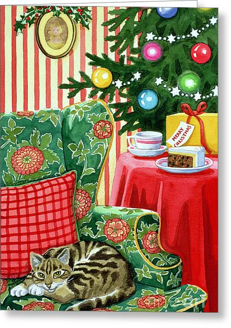 Curled Up Greeting Cards - Christmas Tea Greeting Card by Lavinia Hamer