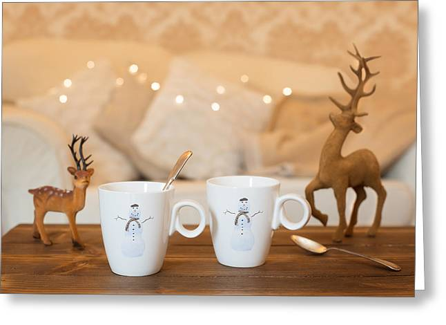 Teacup Greeting Cards - Christmas Teabreak Greeting Card by Amanda And Christopher Elwell
