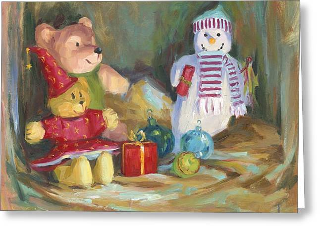 Cheer On Paintings Greeting Cards - Christmas Teddy Bears Greeting Card by David Garrison