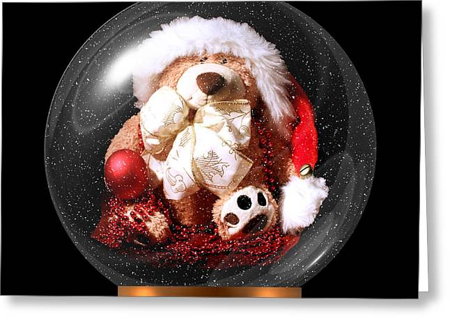 Soft Things Greeting Cards - Christmas Teddy Snow Globe Greeting Card by Terri  Waters