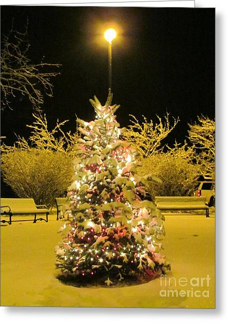 Snow-covered Landscape Greeting Cards - Christmas Tidings Greeting Card by Elizabeth Dow