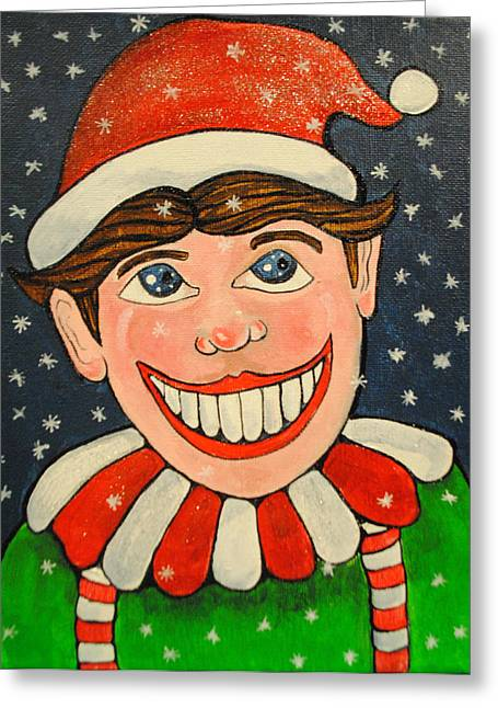 Asbury Park Paintings Greeting Cards - Christmas Tillie Greeting Card by Patricia Arroyo
