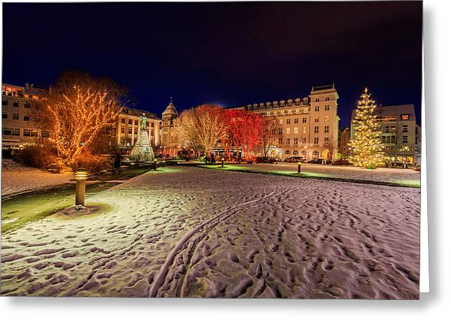 Snowy Evening Greeting Cards - Christmas Time At Austurvollur Greeting Card by Panoramic Images