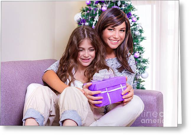 Purple Couch Greeting Cards - Christmas time at home Greeting Card by Anna Omelchenko