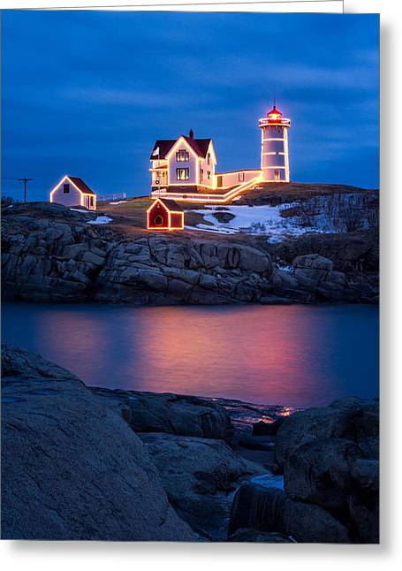 Cape Neddick Greeting Cards - Christmas Time At Nubble Light. Greeting Card by Jeff Sinon