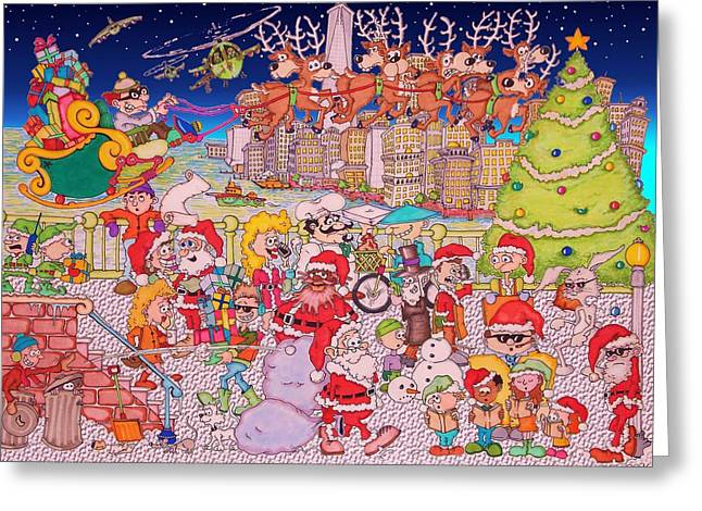 Old Saint Nick Greeting Cards - Christmas time in the City Greeting Card by Paul Calabrese