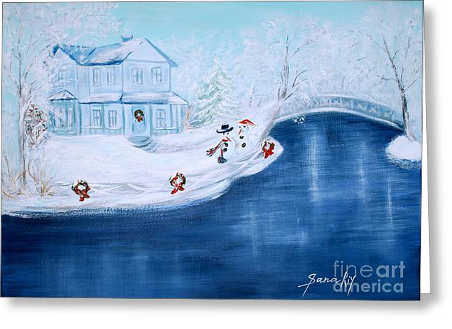 Occasion Greeting Cards - Christmas Time Greeting Card by Oksana Semenchenko