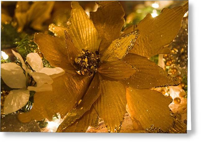 Tinsel Greeting Cards - Christmas Tinsel Sparkley Flower Greeting Card by Douglas Barnett
