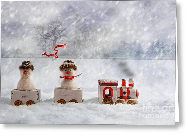 Woollen Greeting Cards - Christmas Train Greeting Card by Amanda And Christopher Elwell