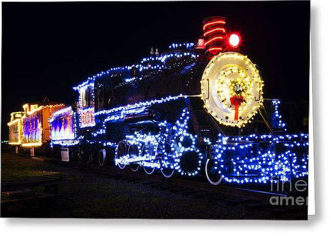 Christmas Greeting Photographs Greeting Cards - Christmas Train Coos Bay Oregon Greeting Card by Bob Christopher