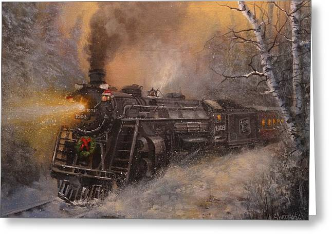 Trains Paintings Greeting Cards - Christmas Train in Wisconsin Greeting Card by Tom Shropshire