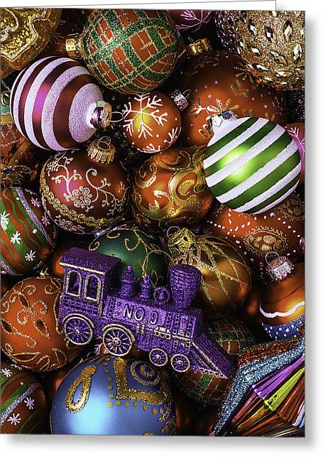 Spheres Greeting Cards - Christmas Train Ornament Greeting Card by Garry Gay