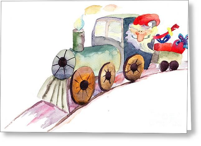 Red Bag Greeting Cards - Christmas train with Santa Claus Greeting Card by Regina Jershova