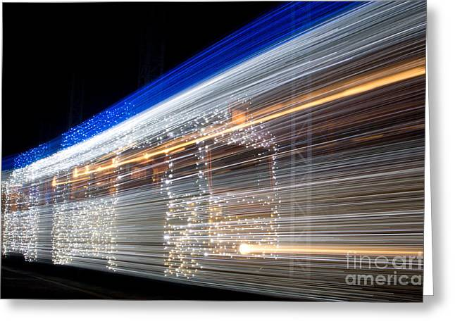 Citites Greeting Cards - Christmas Tram Greeting Card by Eszter Kovacs