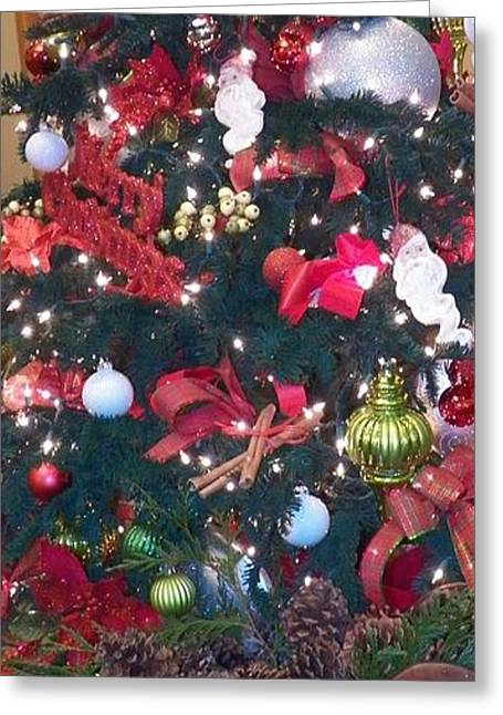 Christmas Greeting Glass Art Greeting Cards - Christmas Tree 10 Greeting Card by Laurie Kidd